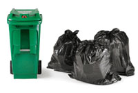 organics cart and garbage bags